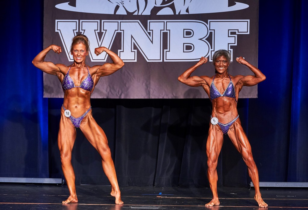 2016 Cellucor WNBF Pro Worlds Championships Womens Overall Cathy Vail and Lisa Lum Front Double Bicep