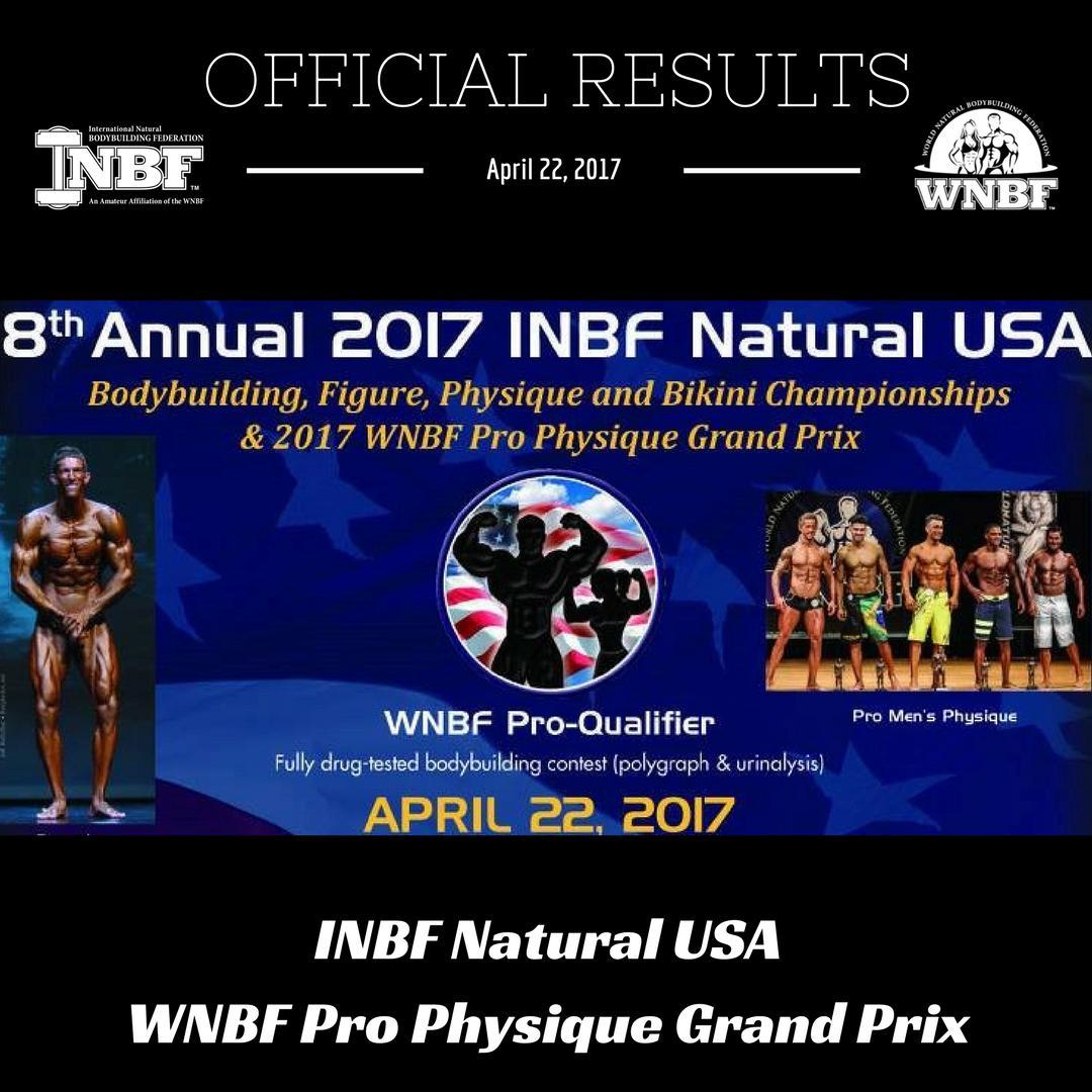 Results 2017 INBF WNBF Natural USA & Grand Prix
