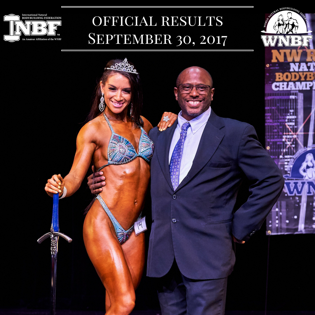 Jonna Edwinson Figure Champion 2017 INBF Northwest Royal new WNBF Pro awarded by promoter John Nickerson