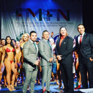 INBF River City Classic promoter Alfredo Gaeta interpreter for Bob Bell WNBF Mexico Cup International competition 2017 in Mexico City