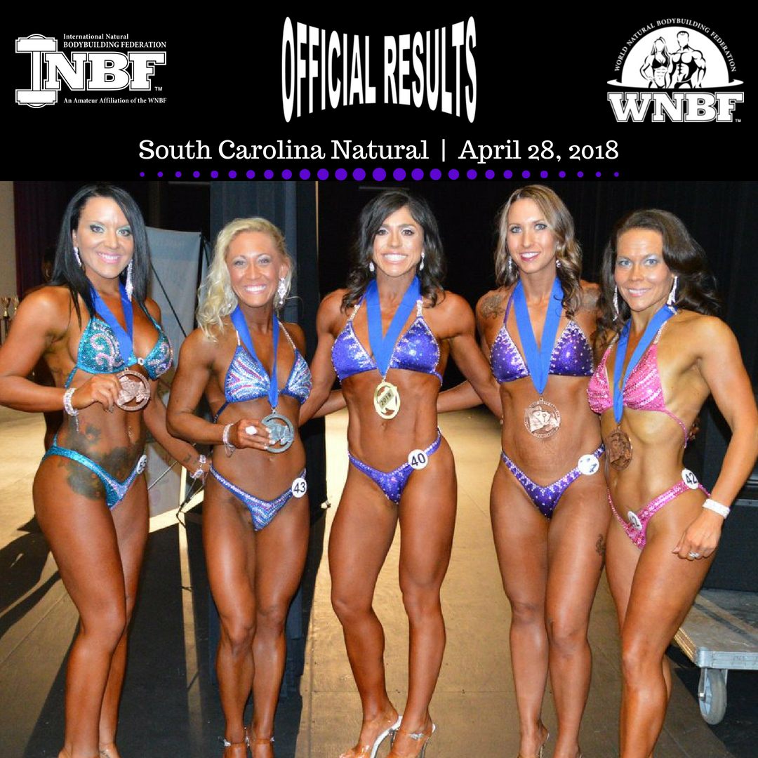Results from the 2018 WNBF INBF South Carolina Natural in Sumter presented by Missy Corrigan and the Sumter YMCA